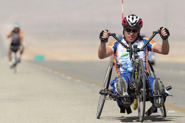 Cyclist on a handbike
